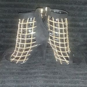 Black chain lined caged  Silettos